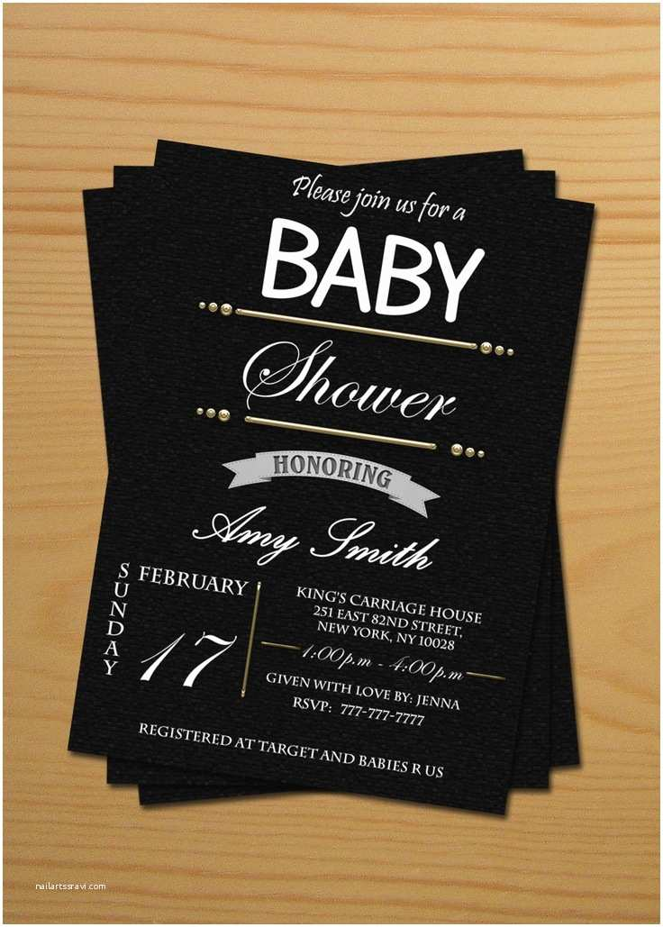 Black Baby Shower Invitations 6 Best Of Black and White Printable Baby Cards