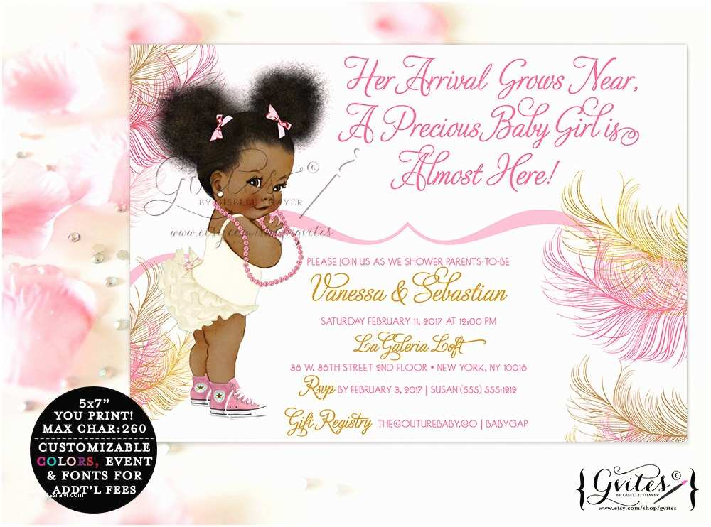 Black Baby Shower Invitations African American Baby Girl Baby Shower Invitations Pink Rose