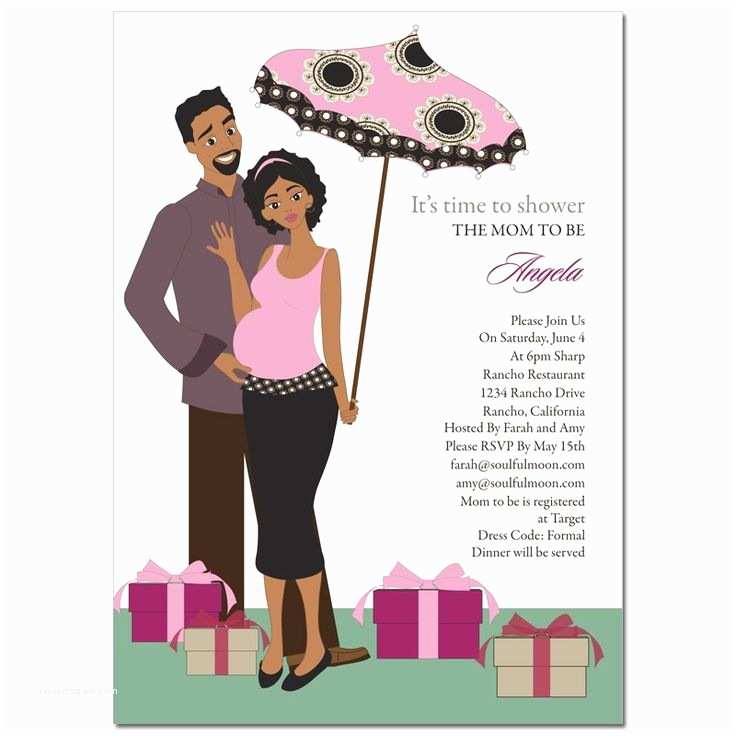 Black Baby Shower Invitations African American Baby Shower Invitations Umbrella Couple