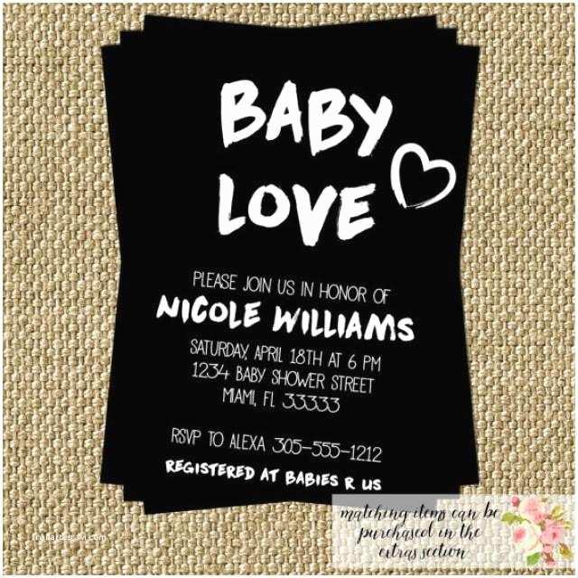 Black Baby Shower Invitations Baby Love Baby Shower Invitation Modern Black and White