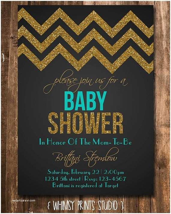Black Baby Shower Invitations Baby Shower Invitation Black Teal Chevron Gold Glitter