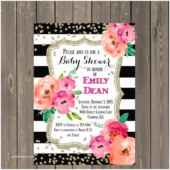 Black Baby Shower Invitations Black and White Baby Shower Invitation Black & White