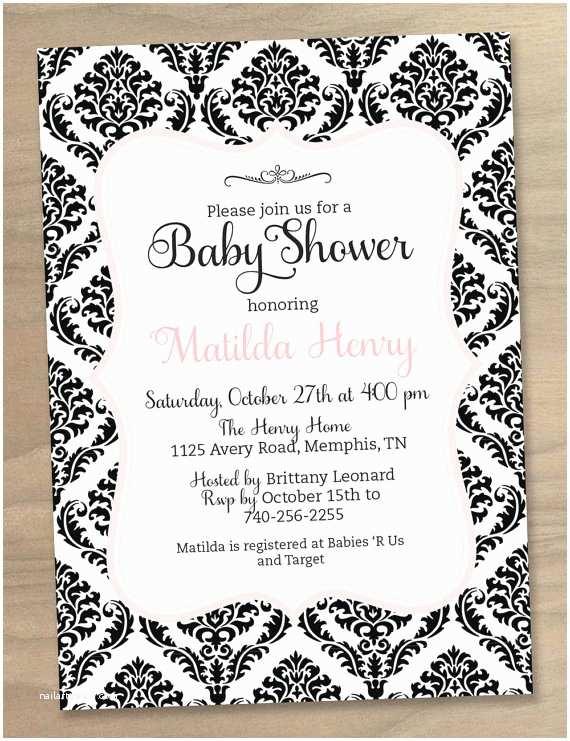 Black Baby Shower Invitations Black and White Baby Shower Invitations Template