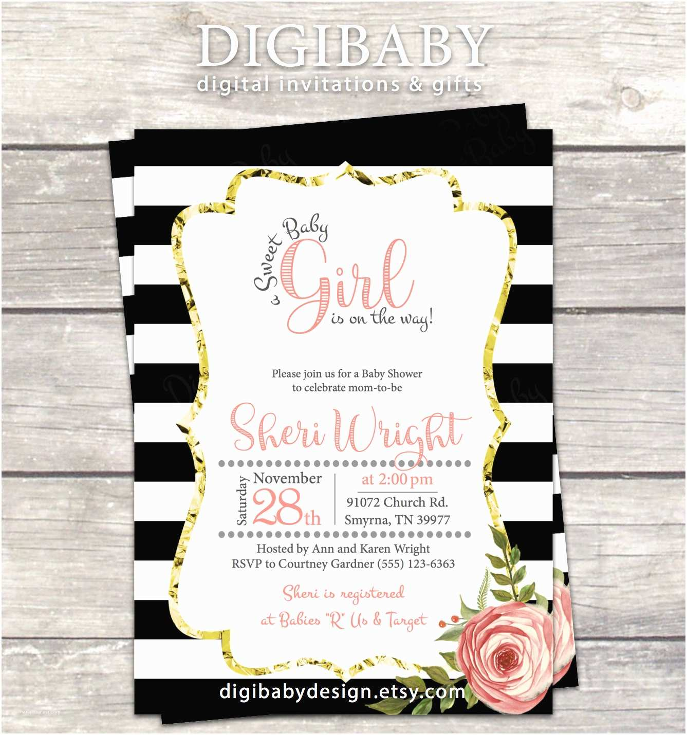 Black Baby Shower Invitations Girl Baby Shower Invitation In Black and White Stripes Gold