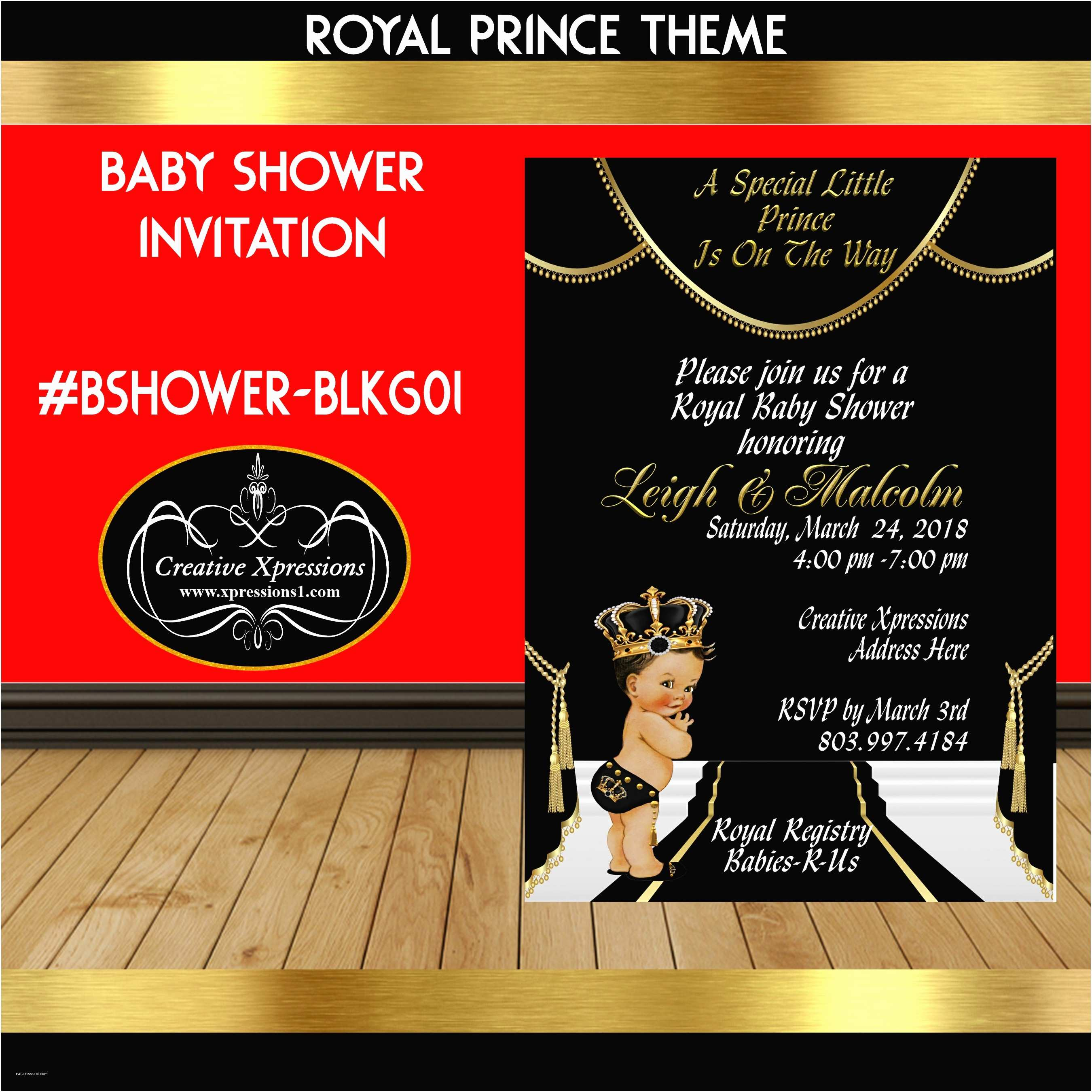Black Baby Shower Invitations Jeweled Prince Black and Gold Baby Shower Invitation
