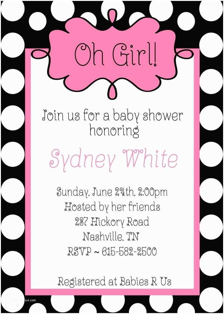 Black Baby Shower Invitations Oh Girl Baby Shower Black White Polka Dots Pink