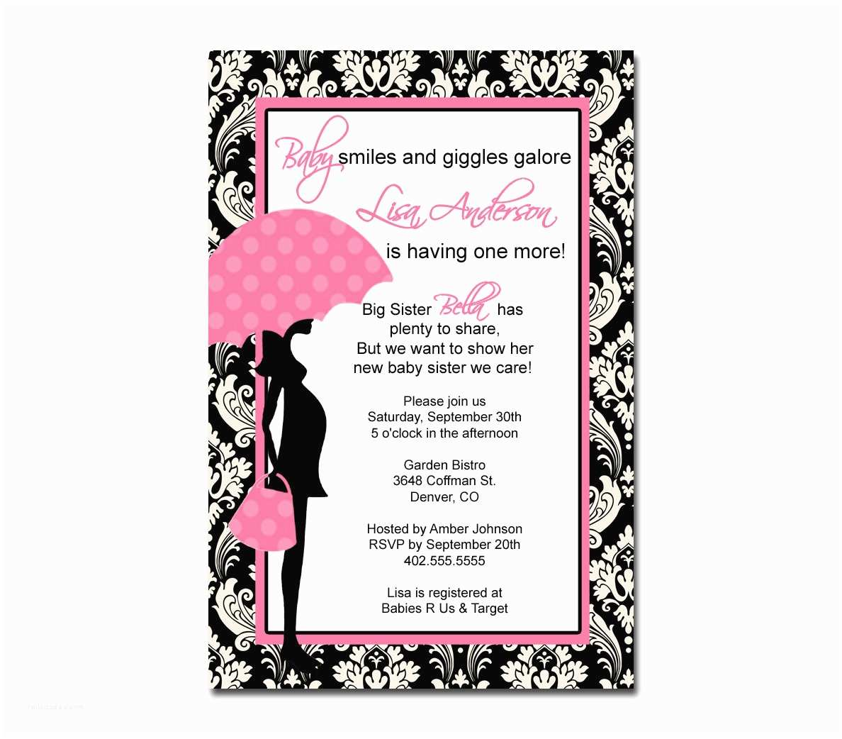 Black Baby Shower Invitations Pink and Black Baby Shower Invitation Various Invitation