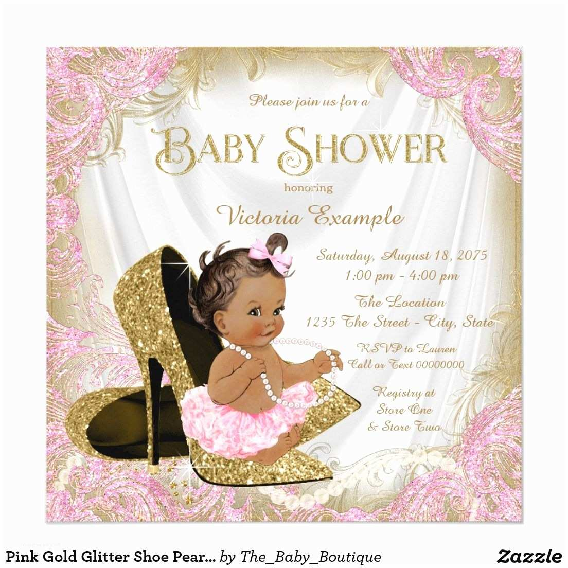 Black Baby Shower Invitations Pink Gold Glitter Shoe Pearl Ethnic Baby Shower Card