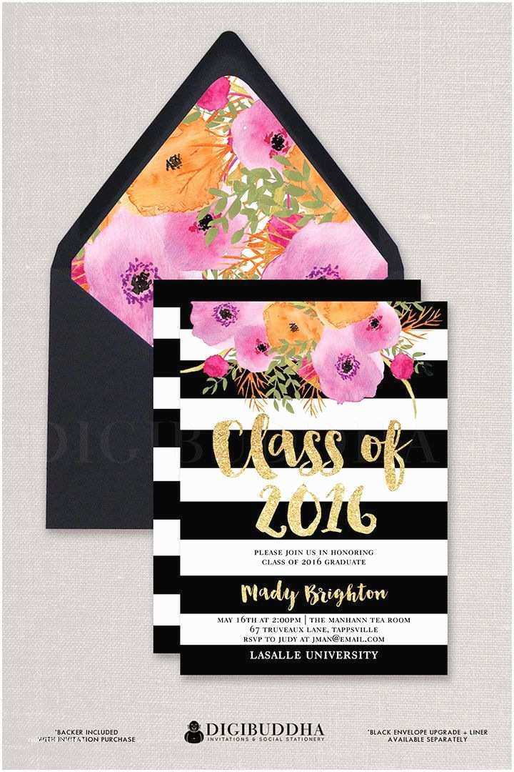 "Black Baby Shower Invitations ""mady"" Black White Stripe Graduation Party Invitation"