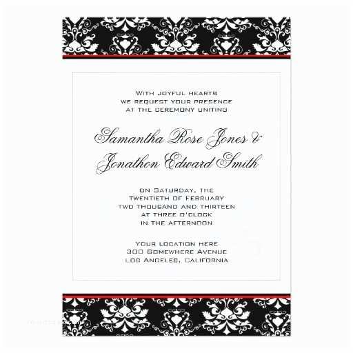 Black Red White Wedding Invitations 1 000 Black White Red Damask Invitations Black White Red