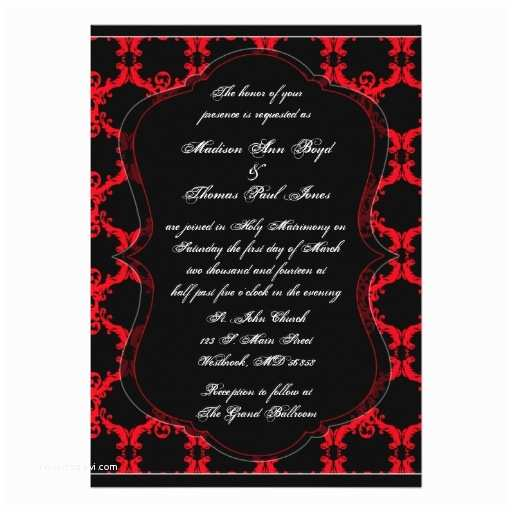 Black Red White Wedding Invitations Black Red and White Damask Wedding Invitation On Zazzle