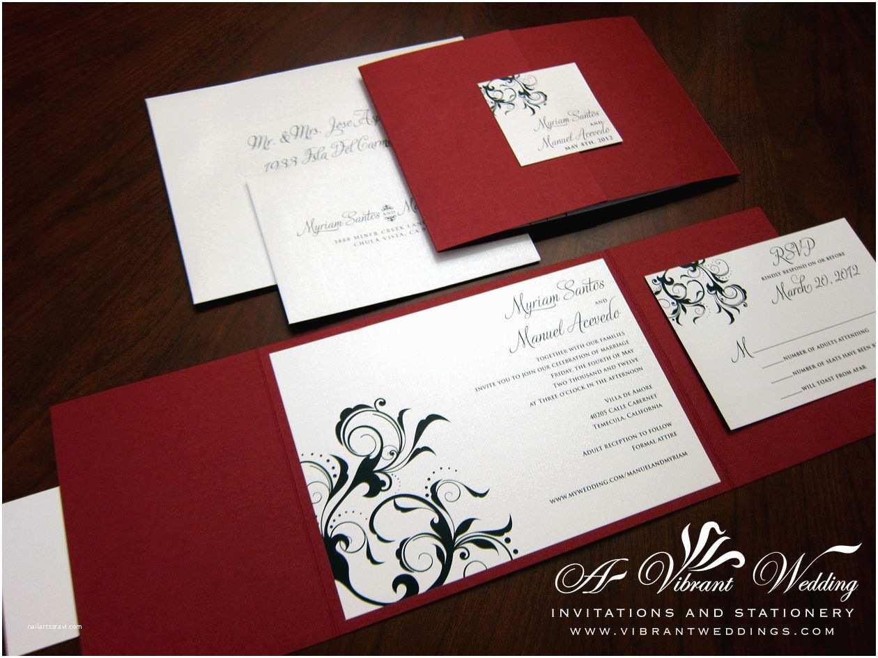 Black Red White Wedding Invitations Black Red and White Wedding Invitation Various