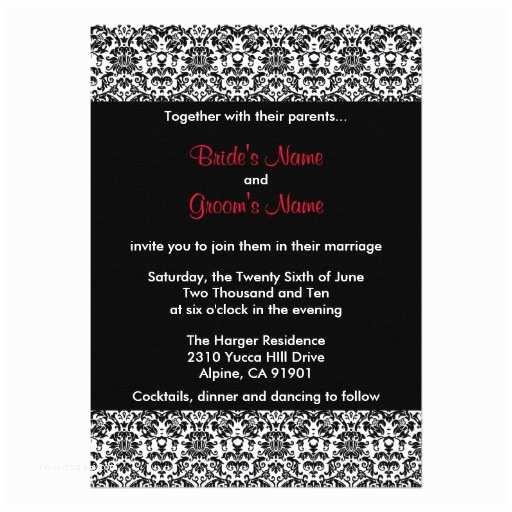 "Black Red White Wedding Invitations Black White Red Damask Wedding Invitation 5"" X 7"