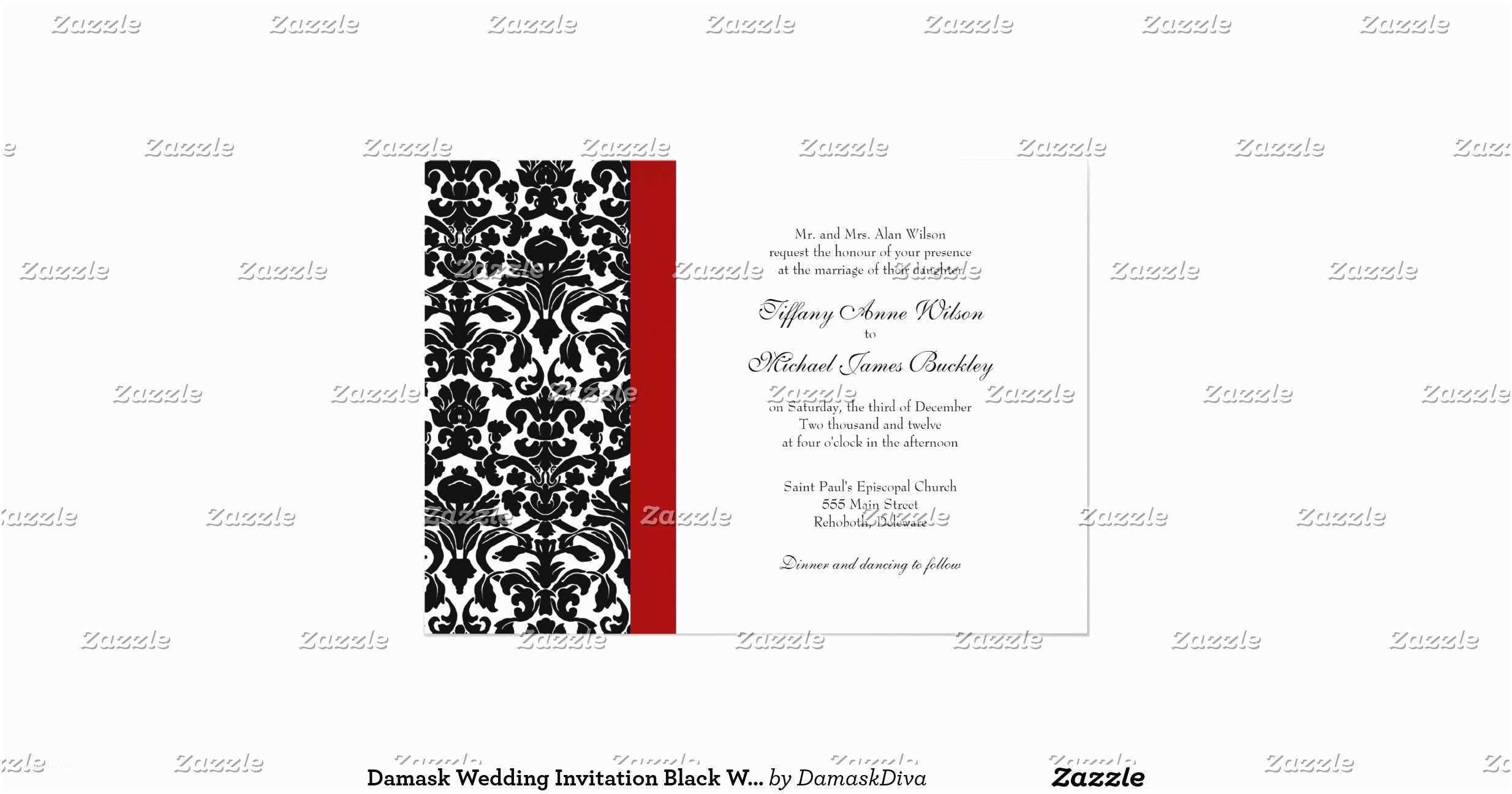 Black Red White Wedding Invitations Damask Wedding Invitation Black White Red