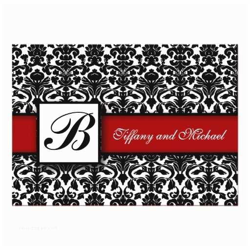 Black Red White Wedding Invitations Damask Wedding Invitation Black White Red