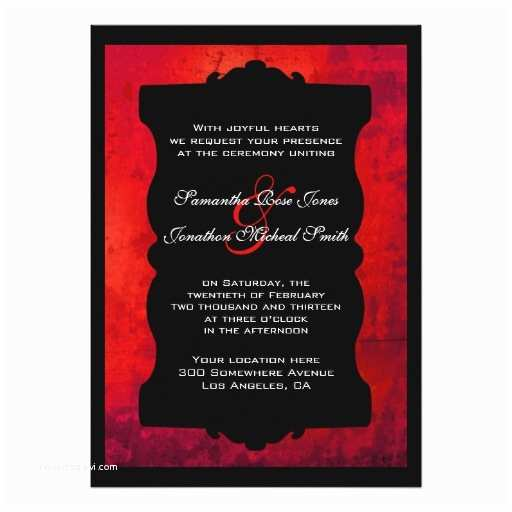 Black Red White Wedding Invitations Distressed Red Black Gothic Wedding Invitation