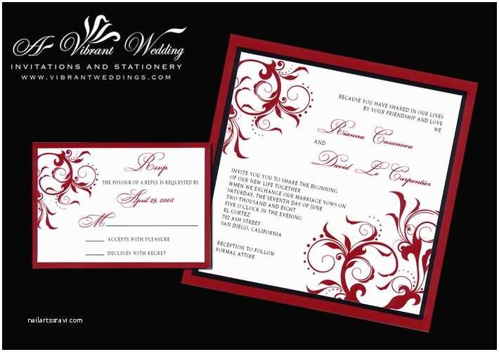 Black Red White Wedding Invitations Elegant Black and Red Wedding Invitations