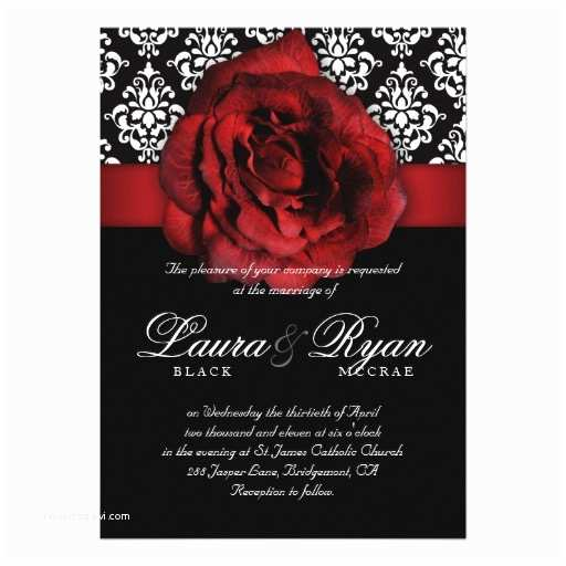 Black Red White Wedding Invitations Elegant Wedding Damask Red Rose Black White 5x7 Paper