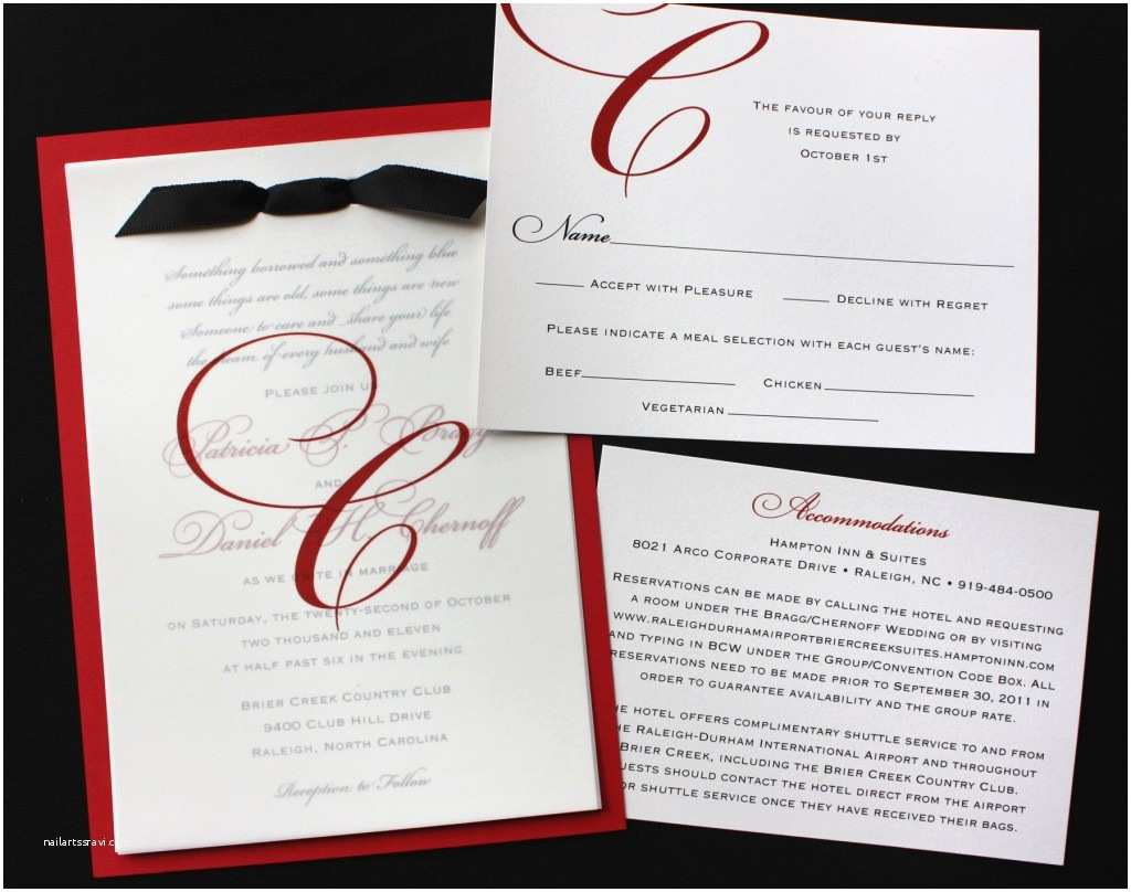 Black Red White Wedding Invitations formal Red Black & White Monogrammed Wedding Invitations