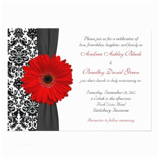Black Red White Wedding Invitations Gerber Daisy Red Black White Damask Wedding 5x7 Paper