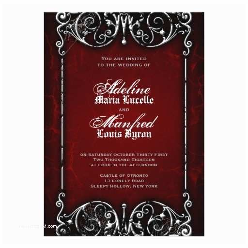 Black Red White Wedding Invitations Gothic Victorian Spooky Red Black & White Wedding 5x7
