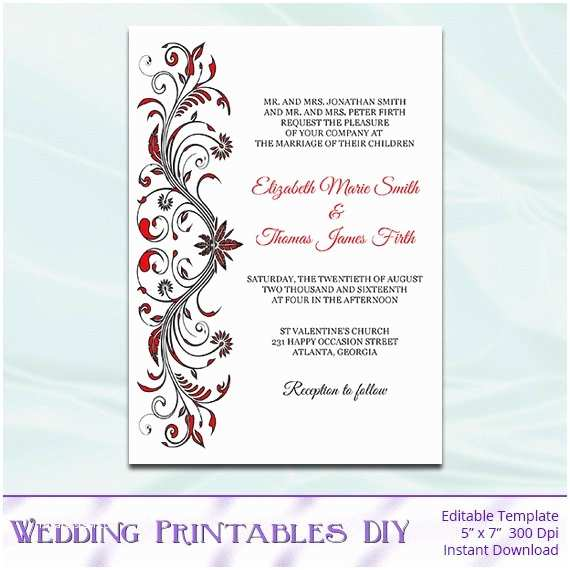 Black Red White Wedding Invitations Items Similar to Red and Black Wedding Invitations