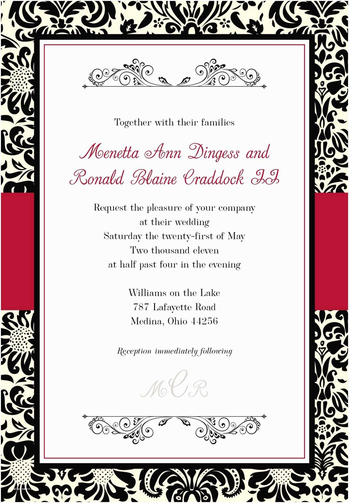 Black Red White Wedding Invitations Mkaydesigns Black Red White and Ivory Damask Invitation