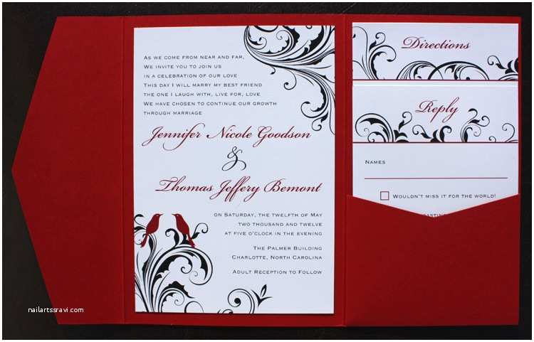 Black Red White Wedding Invitations Red Black & White Love Birds & Swirl Vine Pocketfolds