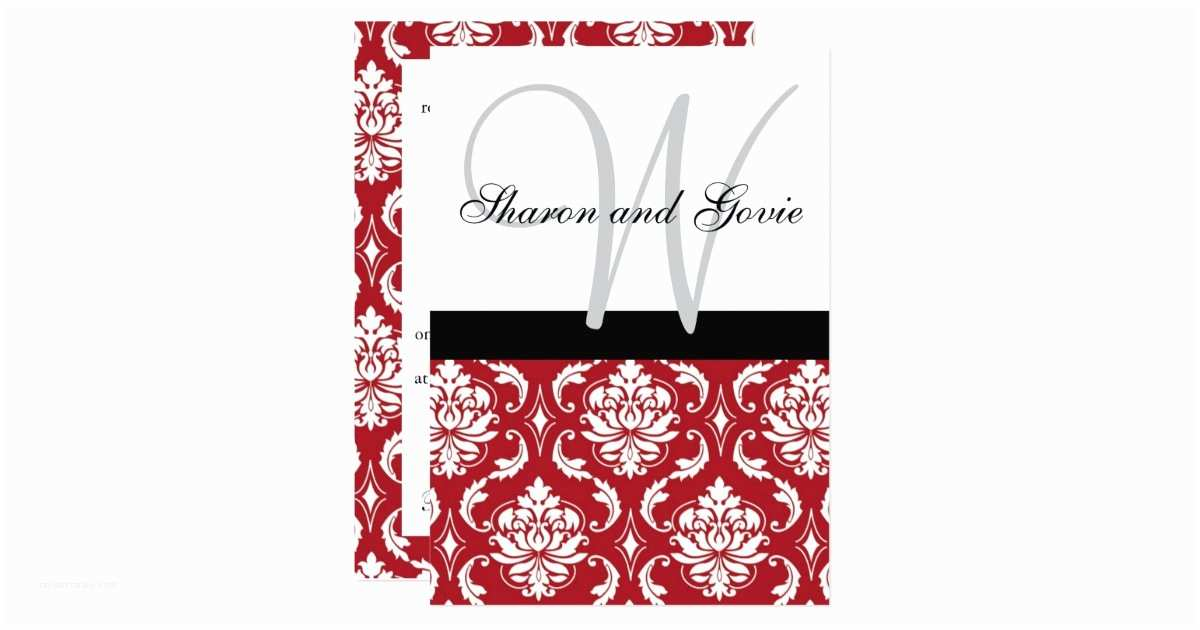 Black Red White Wedding Invitations Red Black White Damask Monogram Wedding Invitation