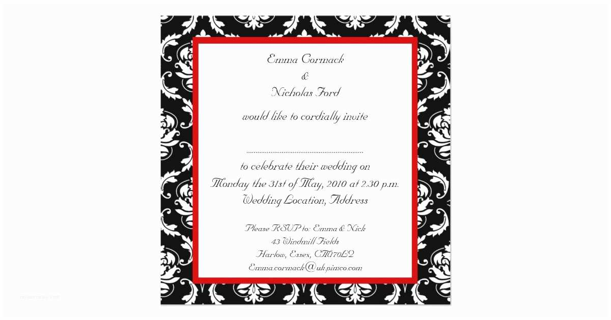 Black Red White Wedding Invitations Red Black White Damask Wedding Invitation