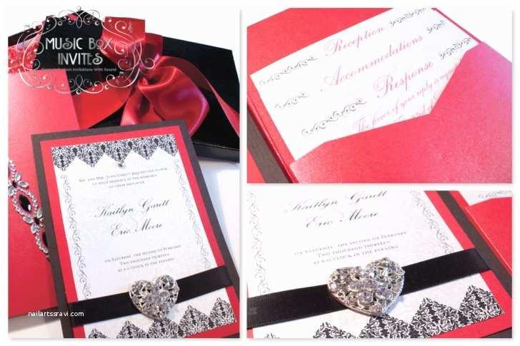 Black Red White Wedding Invitations Red White and Black Brocade Romance Musical Wedding