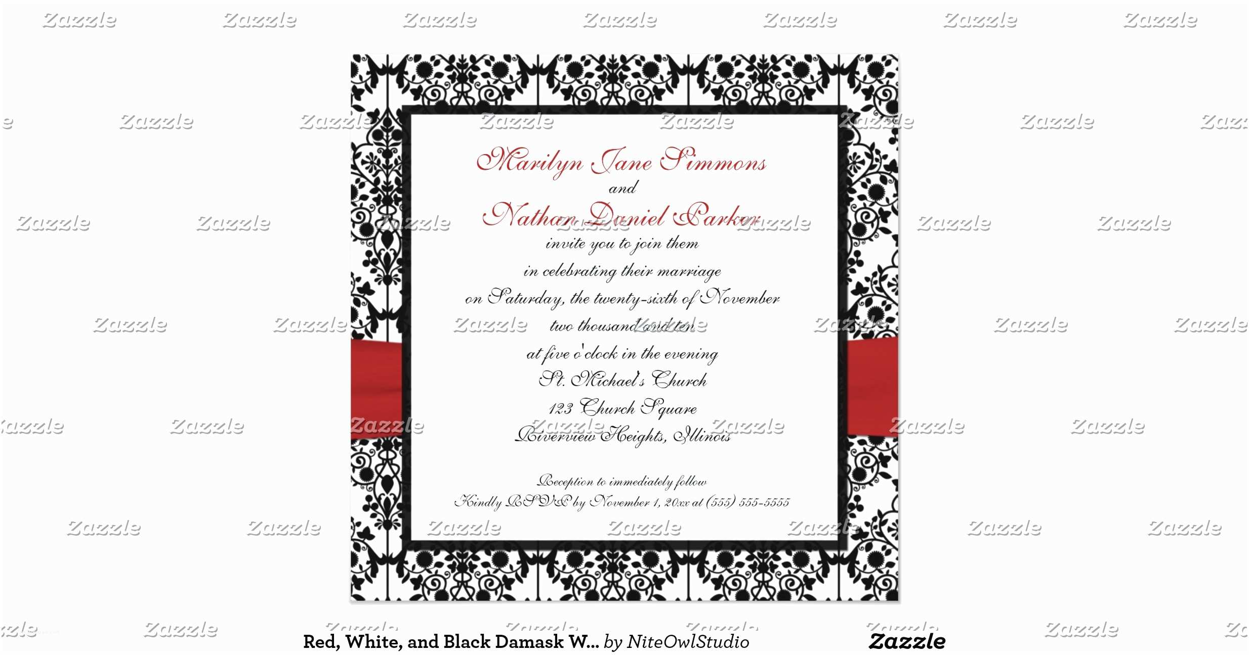 Black Red White Wedding Invitations Red White and Black Damask Wedding Invitation