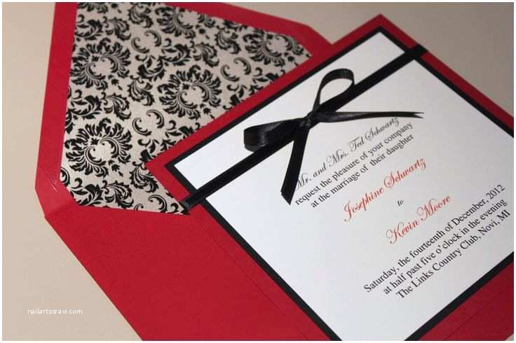 Black Red White Wedding Invitations Square Damask Wedding Invitations Red and Black Vintage