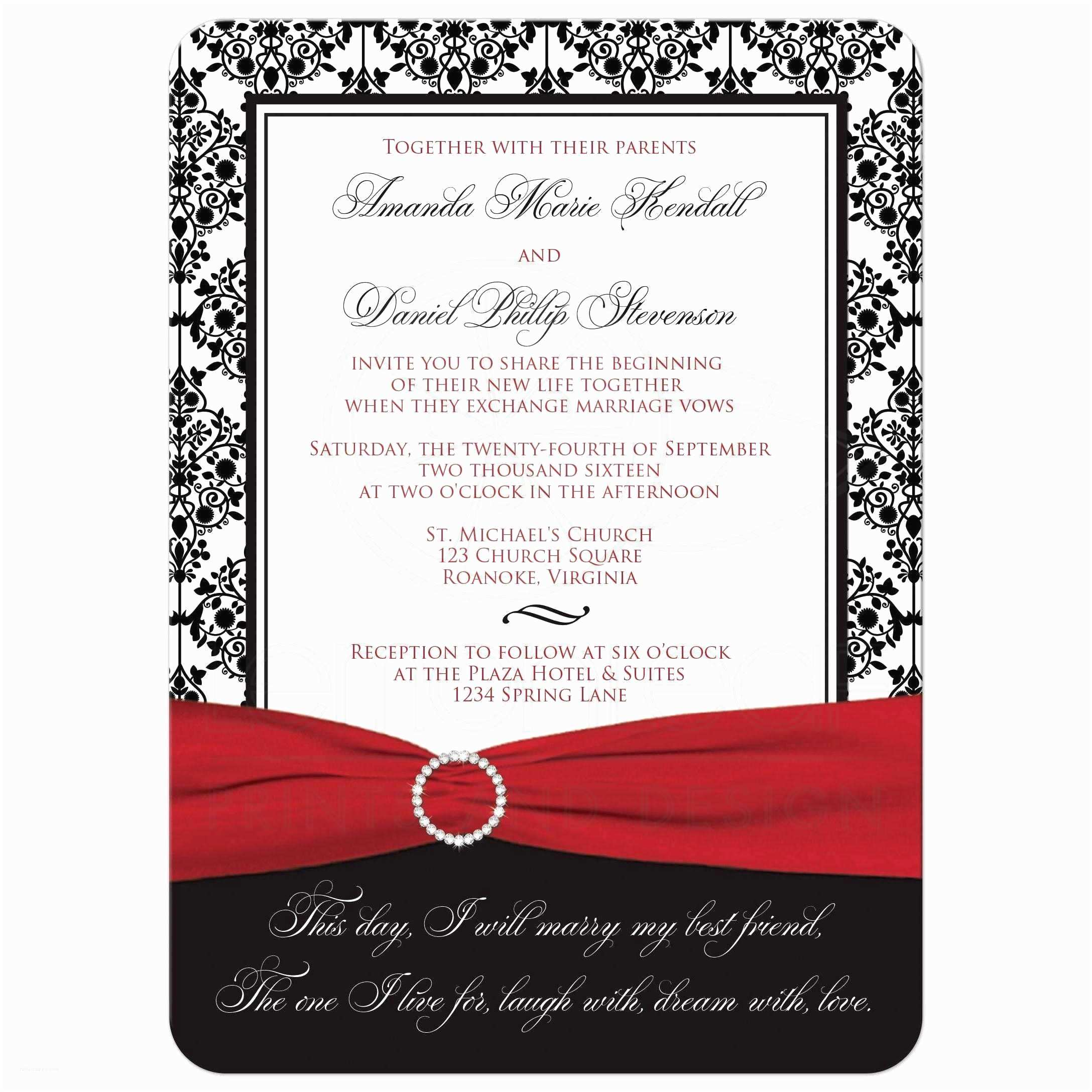 Black Red White Wedding Invitations Wedding Invitation Black White Damask