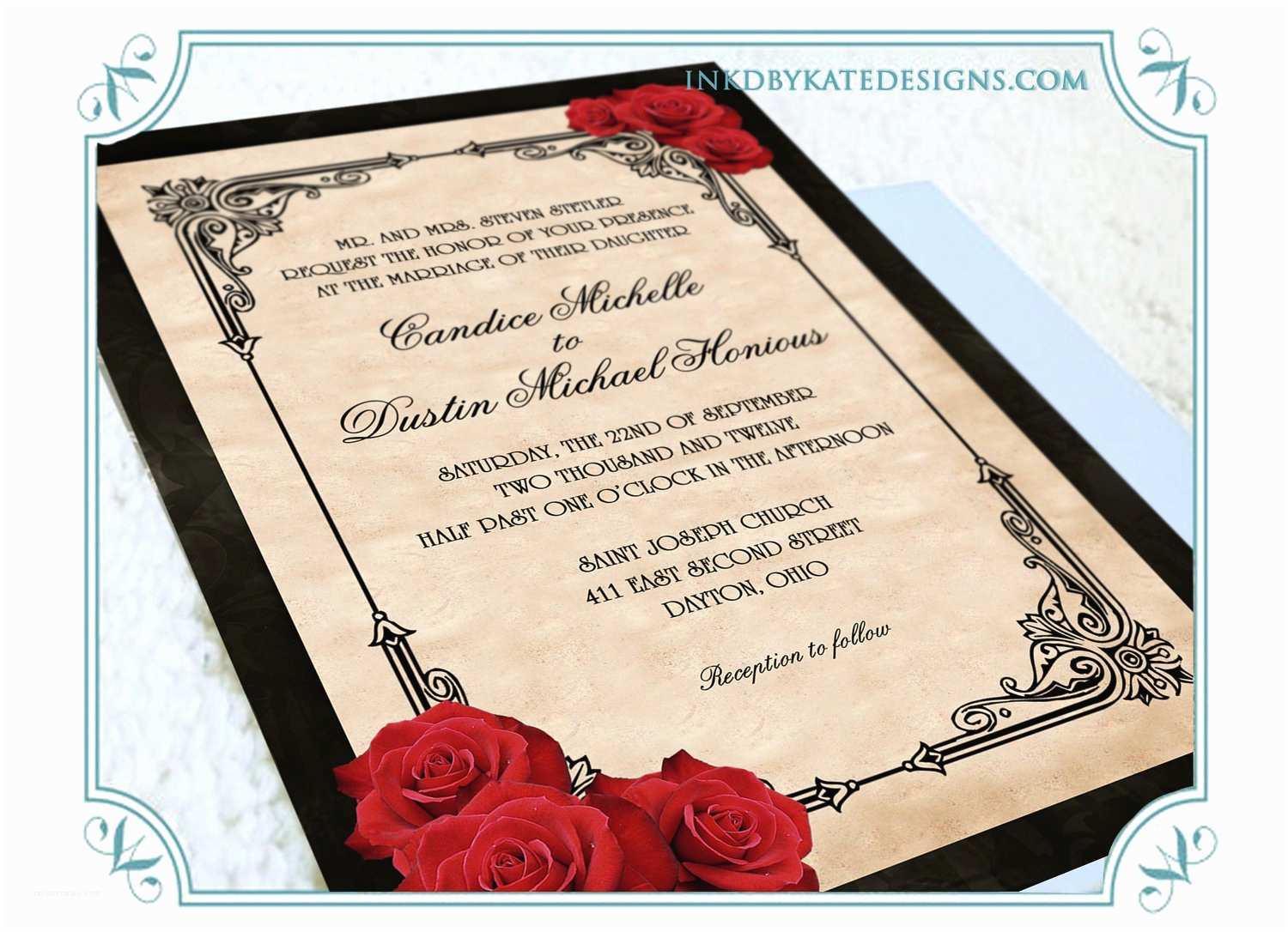 Black Red White Wedding Invitations White Rose Wedding Invitation Black White Red Swirl