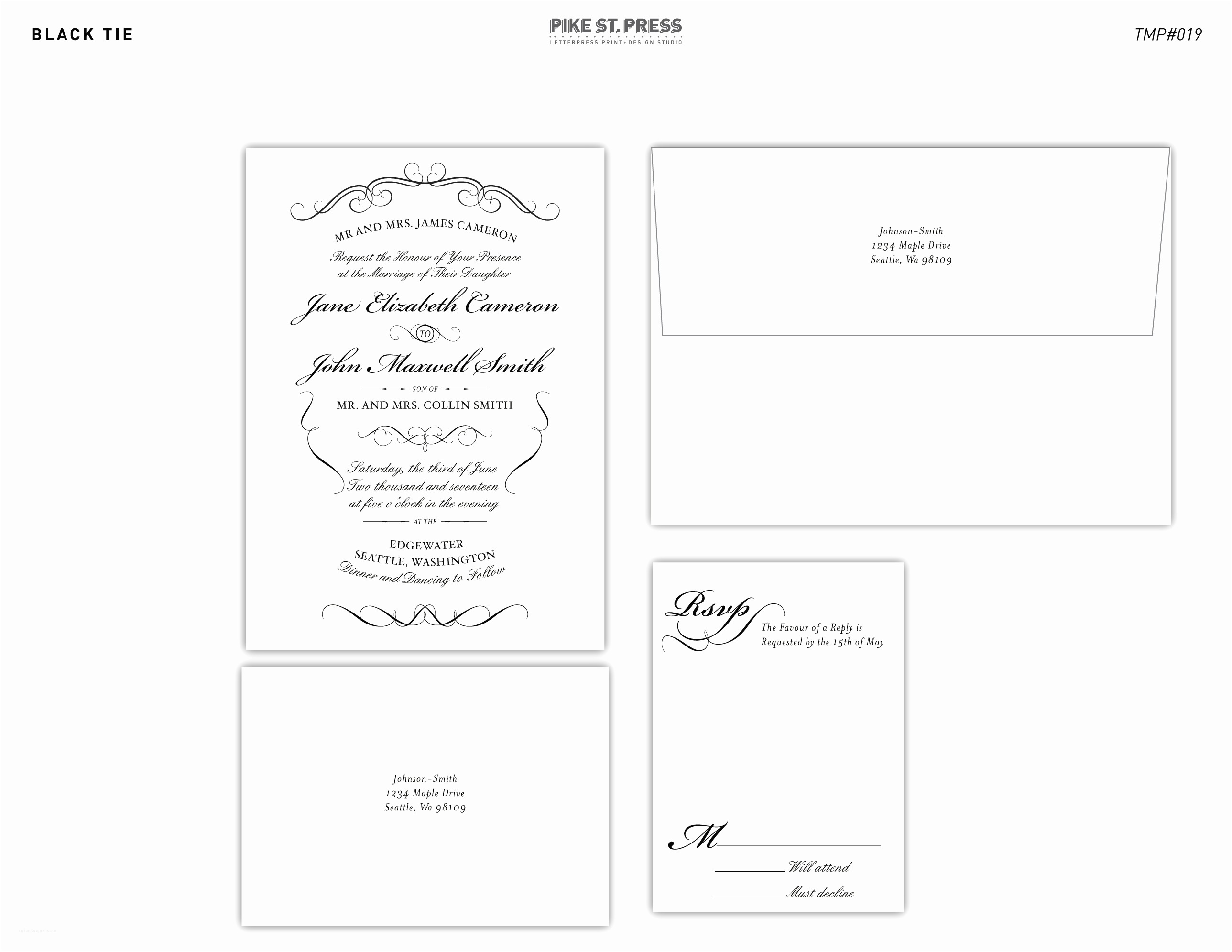Black Tie Wedding Invitations Black Tie Tmp019 – Wedding Invitation – Pike Street Press