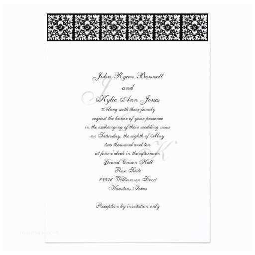 "Black Tie Wedding Invitations Black Tie Wedding Invitation 5"" X 7"" Invitation Card"