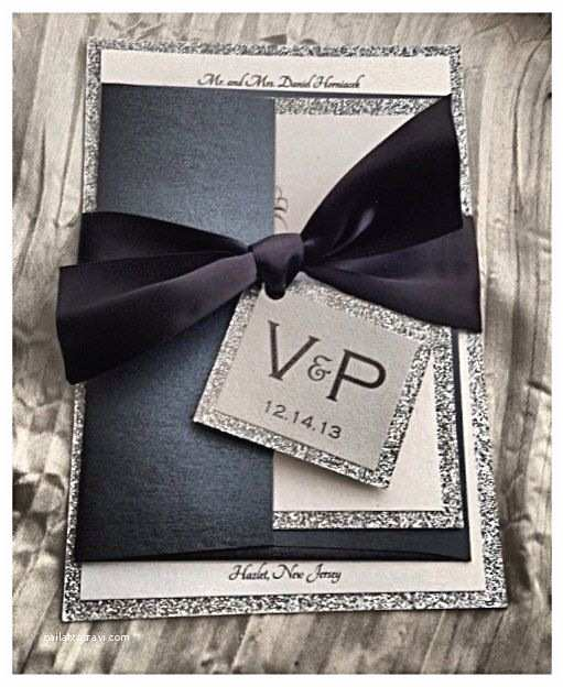 Black Tie Wedding Invitations Black Tie Wedding Invitation Black and Silver Invitation