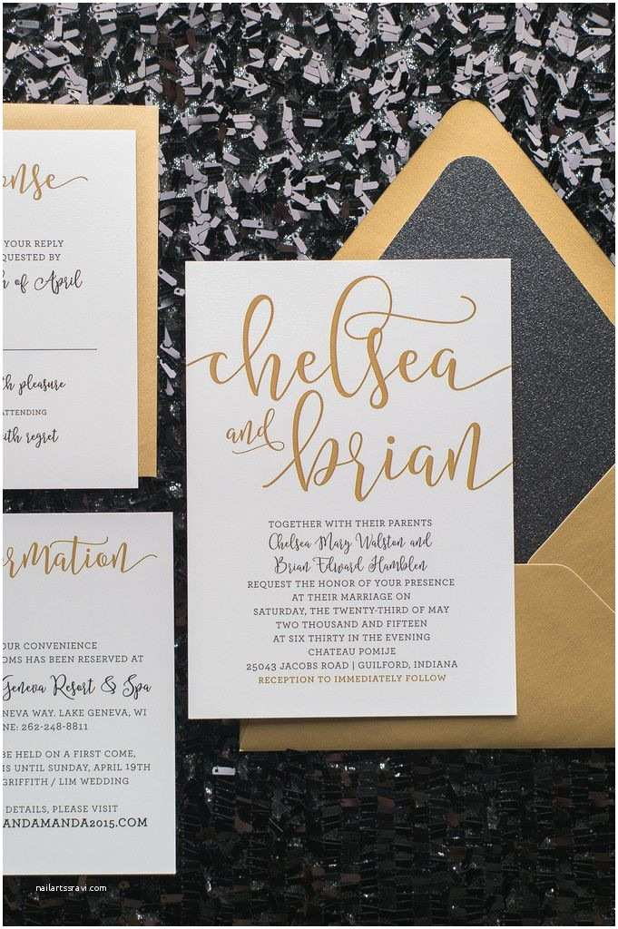 Black Tie Wedding Invitations Chelsea Suite Glitter Package Black and Gold Glitter