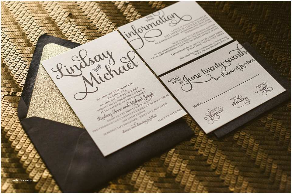 real wedding lindsay and michael black tie wedding invitations