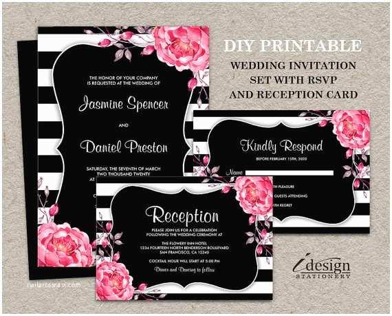 Black Wedding Invitation Kits Botanical Black and White Stripe Wedding Invitation Kits Diy
