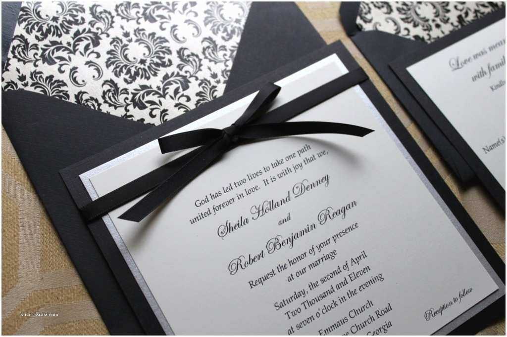 Black Wedding Invitation Kits Red White Black Damask Invitation Kit Invitation Card