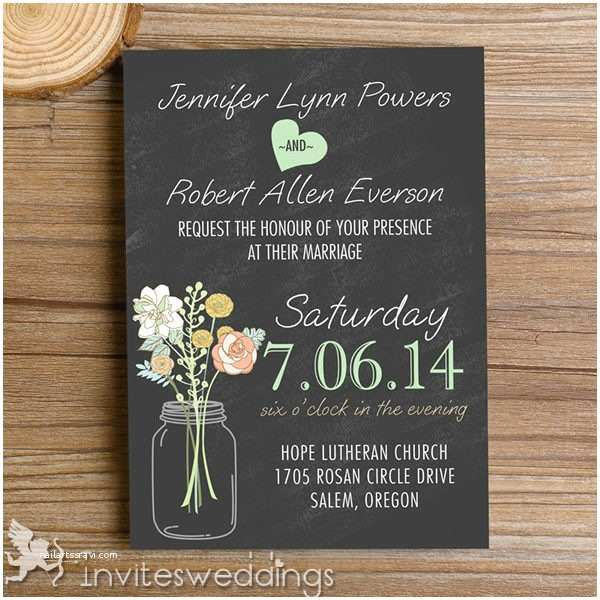 Black Wedding Invitation Kits Rustic Mason Jars Chalkboard Wedding Invitations Iwi335