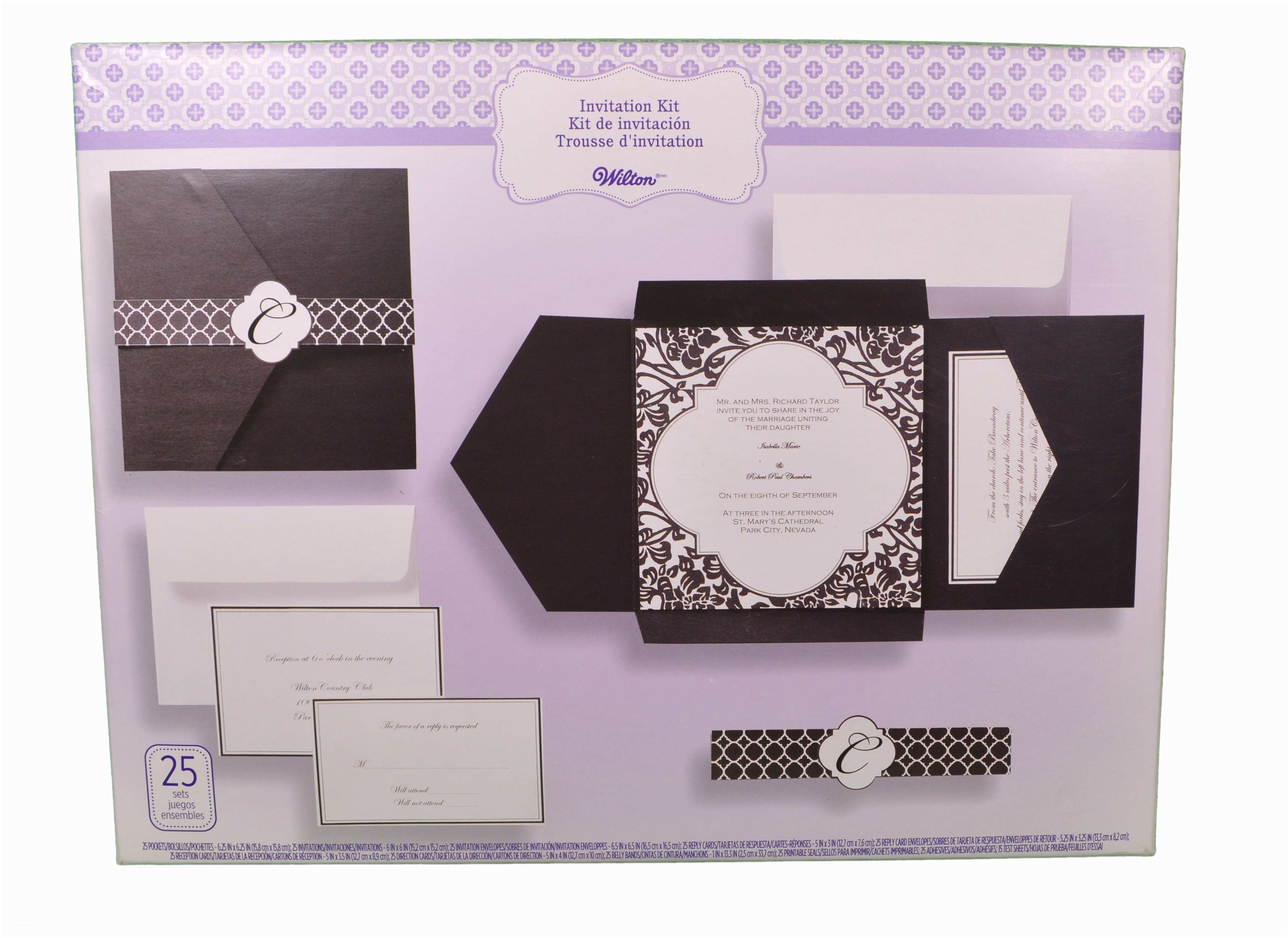 Black Wedding Invitation Kits Set Of 25 Wilton Wedding Black and White Vintage Pocket