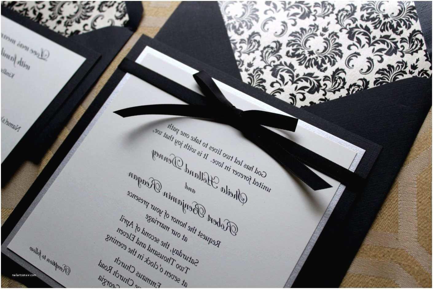 Black Wedding Invitation Kits Wedding Invitations Black and White Elegant Black White