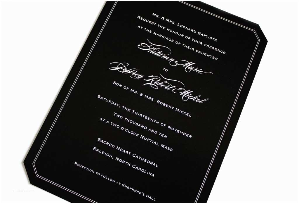 Black Wedding Invitations Black Wedding Invitations with White Lettering Emdotzee
