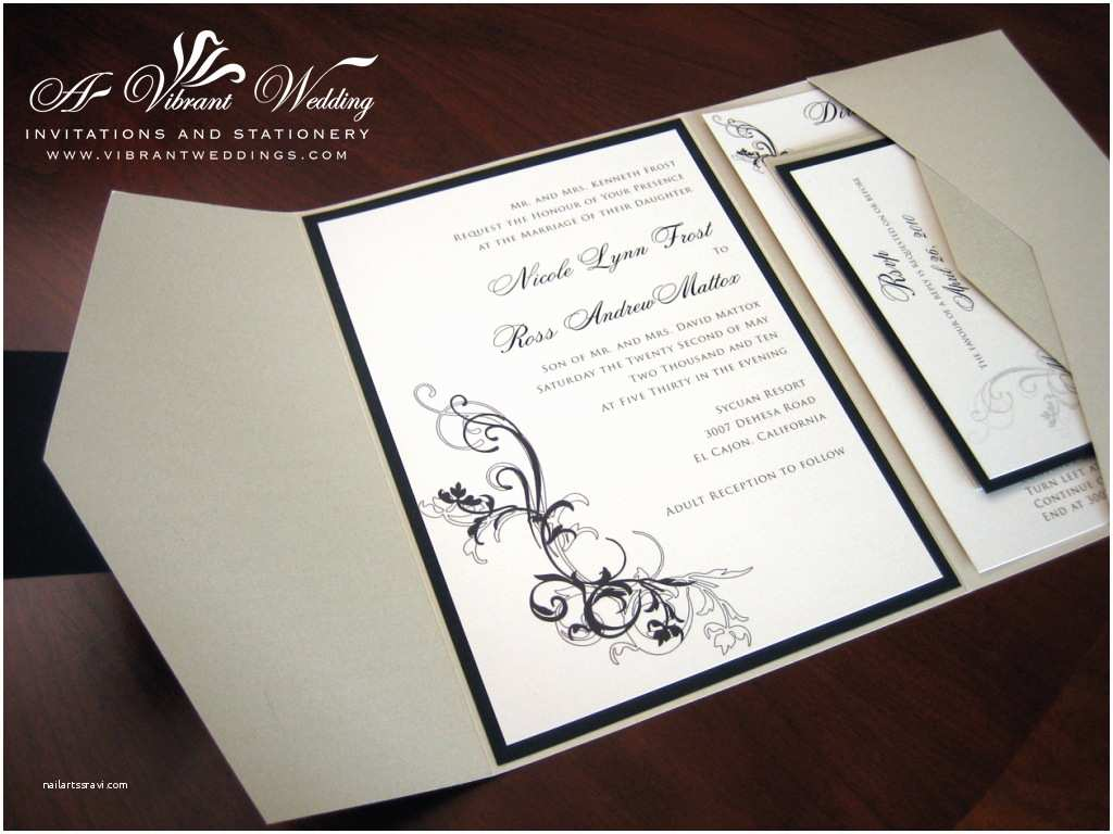 Black Wedding Invitations Champagne and Black Wedding Invitation – Pocketfold Style