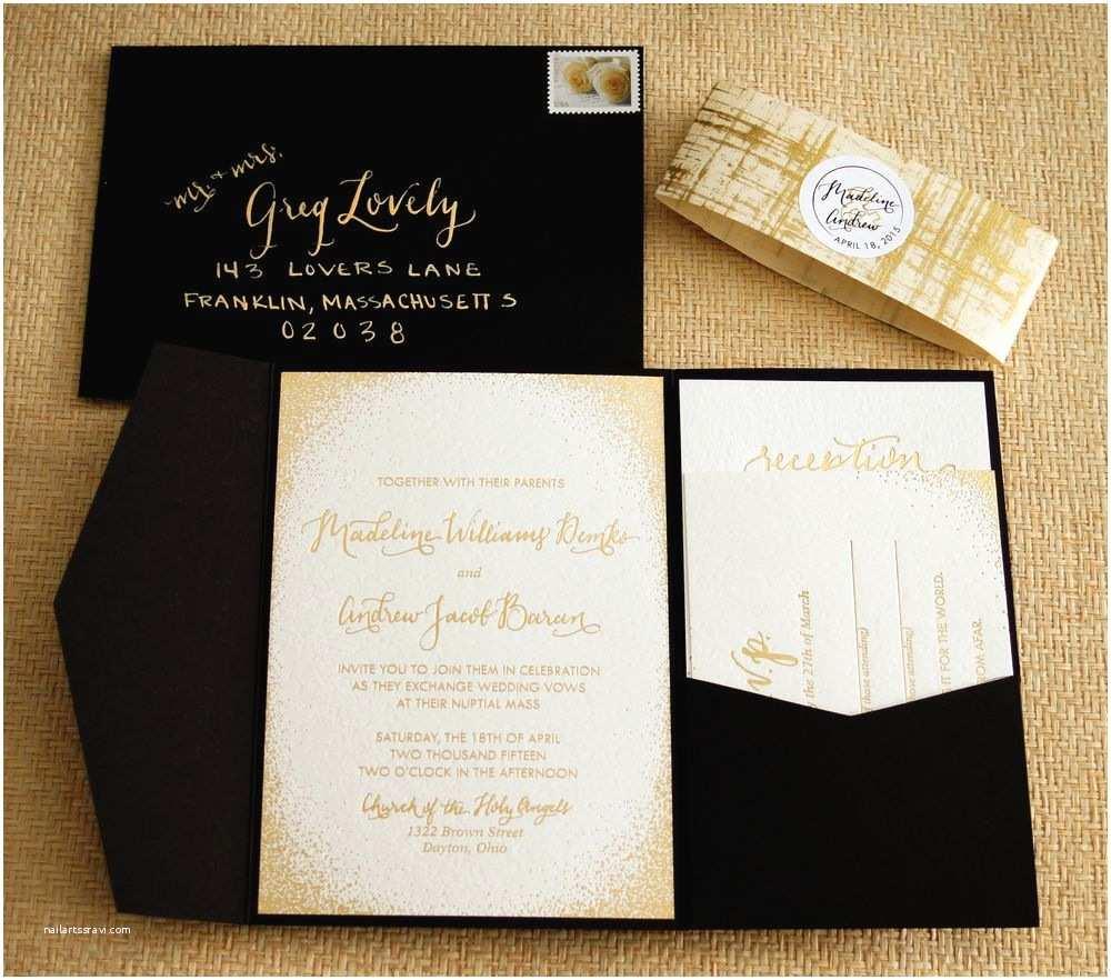 Black Wedding Invitations Gold Foil Shimmery Subtle Glitter Wedding Invitation Suite