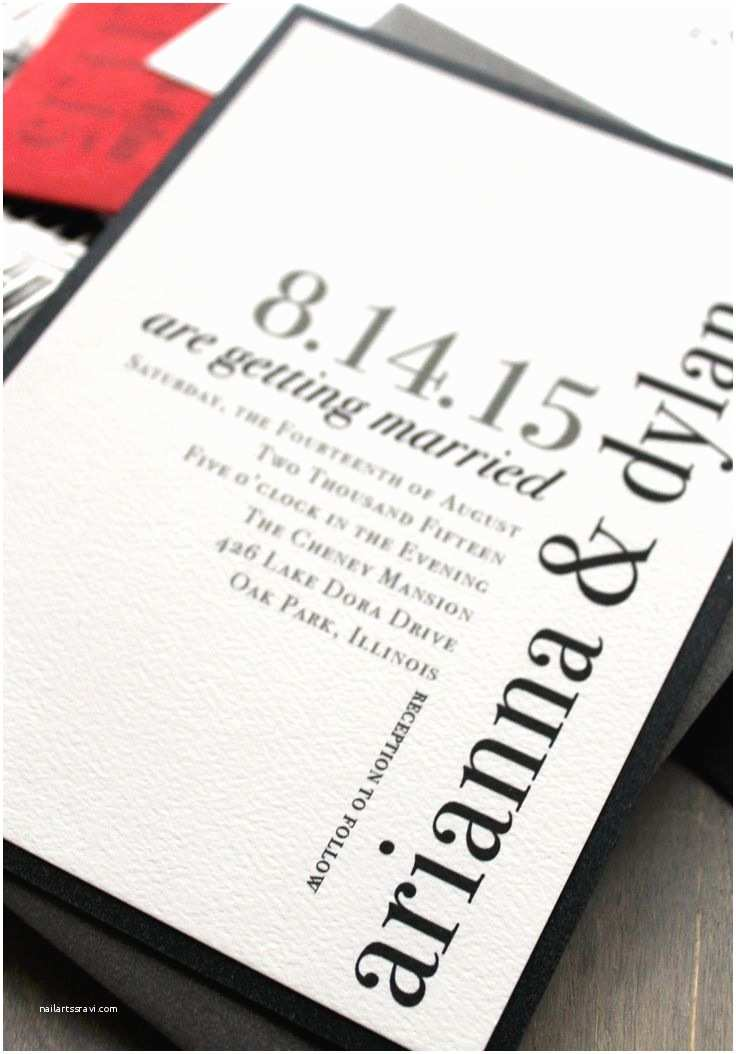 Black Wedding Invitations Modern Wedding Invitations Wedding Invitation Urban Chic