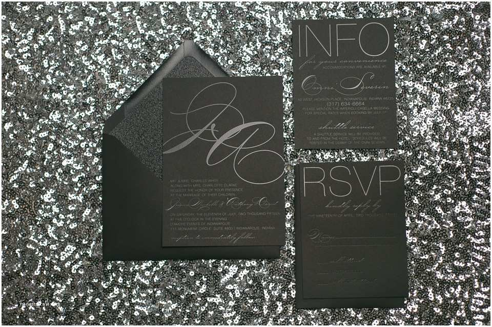 Black Wedding Invitations Oh so Trendy and Modern Black Foil On Black Paper Wedding